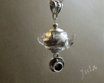 Teapot, Glass teapot, Pendant teapot, Necklace teapot, Time for tea, Tableware, Tableware pendant, Hollow glass beads