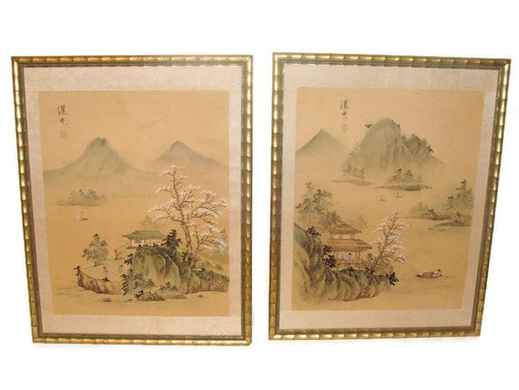 Vintage Chinoiserie Prints Silk Painting Gold Faux Bamboo