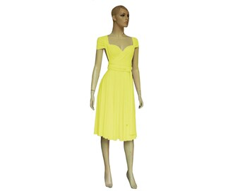 Convertible Yellow Dress Twist Wrap Infinity Bridesmaid Gown Prom Wedding Knee Length Dress XS-5XL
