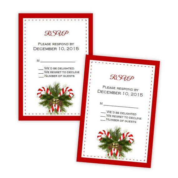 Wedding Or Holiday Party RSVP Card Template Fun By AJsPrints