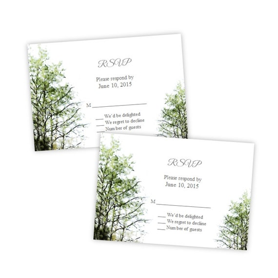 Wedding RSVP Card Template Painted Trees DIY