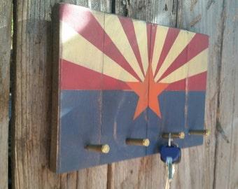Arizona state flag key rack with bullet hooks
