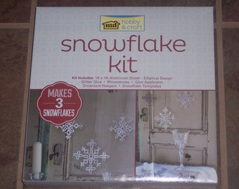 Metal Snowflake making kit, complete craft kit includes,aluminum sheet,designs,glue and embellishments,makes 3,winter decor,craft,