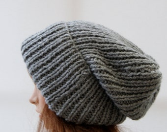 Extra Large Chunky knit Beanie Hat in Celtic grey/ Beanie Hat/ Winter Hat/ Warm Hat