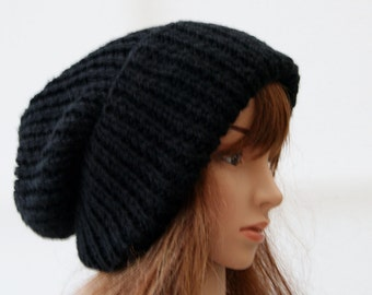 Extra Large Chunky knit Beanie Hat in Black/ Beanie Hat/ Winter Hat/ Warm Hat