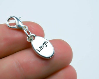 Dangle Charm - One Sided Laugh Charm - Clip on Dangle Charm - Laugh out Loud - Affirmations SCC16