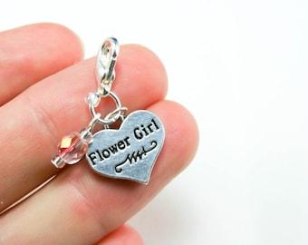 Flower girl Charm. Double Sided Wedding Flower girl Heart Charm. Pink Beaded Flowergirl Charm. SCC127