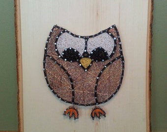 "10.5x13"" Owl String Art on Tree Bark Plaque"