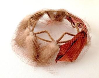 1960s Mink Hat, Mink Hat, Copper Bow, Vintage Mink Hat, Hat with Netting, Church hat, Hat with Netting, Veil