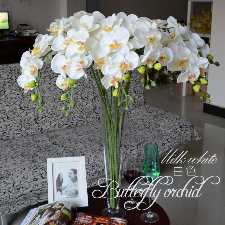 5pcs white orchids artificial flowers for wedding table for Artificial flowers for wedding decoration