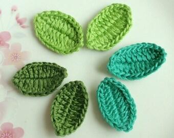 6 Crochet  Leaves In Green Combination YH-098-02