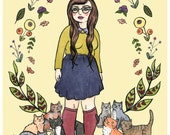 Cat Queen Illustration - Girl and Cats Art - Giclee Print - Girl and Cats Watercolor - 8x10