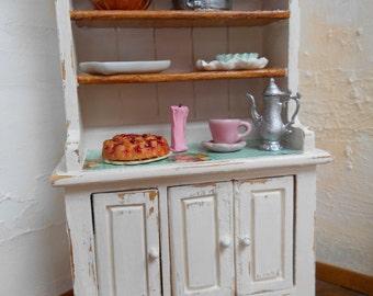 1/12 Kitchen cupboard | Shabby chic style | English Cottage style | Dollhouse miniature furniture | Kitchen