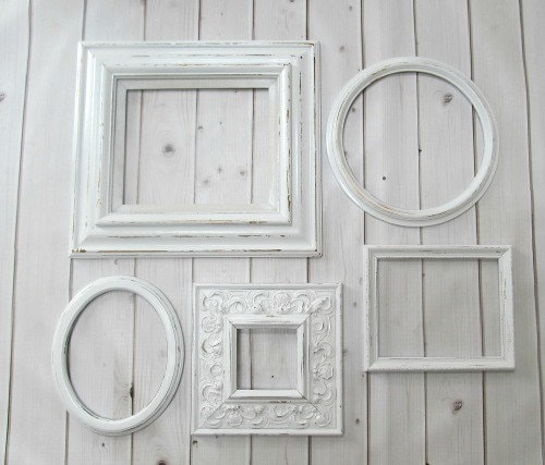 White frame collection vintage antique ornate round oval - Antique white picture frames ...
