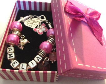 Personalised girls daughter big sister niece pink butterfly charm bracelet gift box
