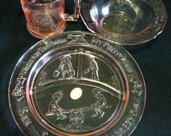 Vintage Tiara Mother Goose Pink Glass Childs Dinnerware 3 Piece Set   (LDT4)
