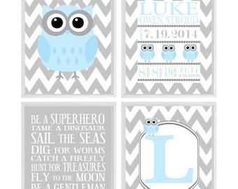 Boy Nursery Art, Birth Stats, Owl Nursery, Owl Wall Art, Baby Blue Gray, Boy Rules Quote, Personalized Nursery Art, Chevron Baby Boy Nursery