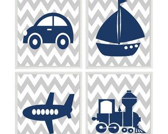 Transportation Nursery Art Prints,  Baby Boy Nursery, Toddler Room, Gray Chevron, Navy Blue Decor, Airplane, Sailboat, Train, Car Prints