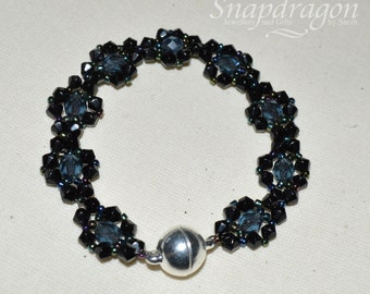 Midnight black beaded bracelet with magnetic clasp