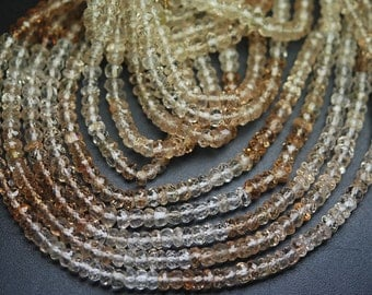 SUPERB,AAA Quality,13 Inch Strands,Finest Quality,IMPERIAL Topaz Micro Faceted Rondelles Shape Beads,4mm