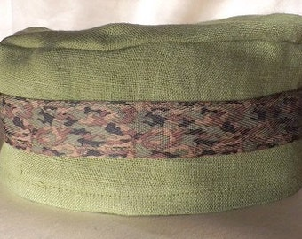 346 Olive Green 100% Linen Migba'ah Turban Cap with Camo Ribbon Trim