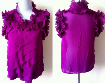 Spring / Summer Sale: sheer magenta ruffled sleeveless top (small to medium), see through purplish pink red sleeveless blouse with ruffles
