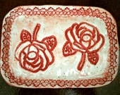 Red Rose Handmade Ceramic Jewelry Dish, Soap Dish, Sponge Holder, Spoon Rest