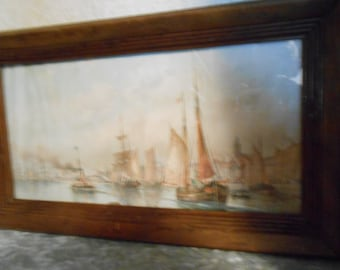 Jan. 27, 1895 Framed Glass Ship Print
