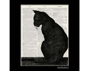 Black Cat - Vintage Illustration - Dictionary Art Print No. P362