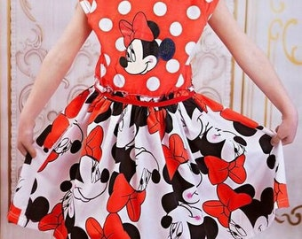 Minnie inspired girls twirl party dress size 4T cap sleeve super cute great for Disney, spring or summer