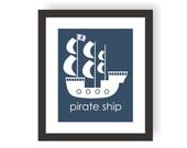 Pirate Ship Art - Pirate Kids Room, Modern Kid Art, Playroom Poster, Child Room Decor, Pirate Room, Toddler Art, Nursery Art