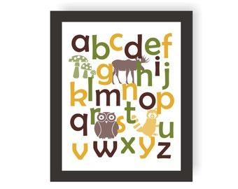 Woodland Alphabet Art - CHOOSE COLORS - Woodland Theme Nursery, ABC Wall Print, Forest Nursery, Toddler Art, Playroom Wall Decor