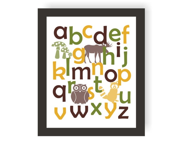 Abc wall print forest nursery toddler art playroom wall decor