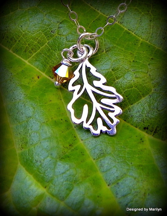Sterling silver oak leaf necklace, nature necklace, birthstone necklace, Autumn jewelry
