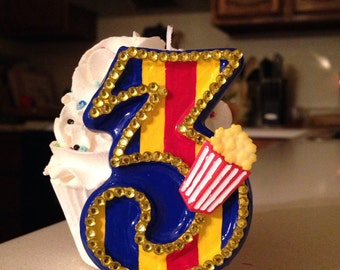 3 inch tall circus/carnival themed birthday candle - any number!