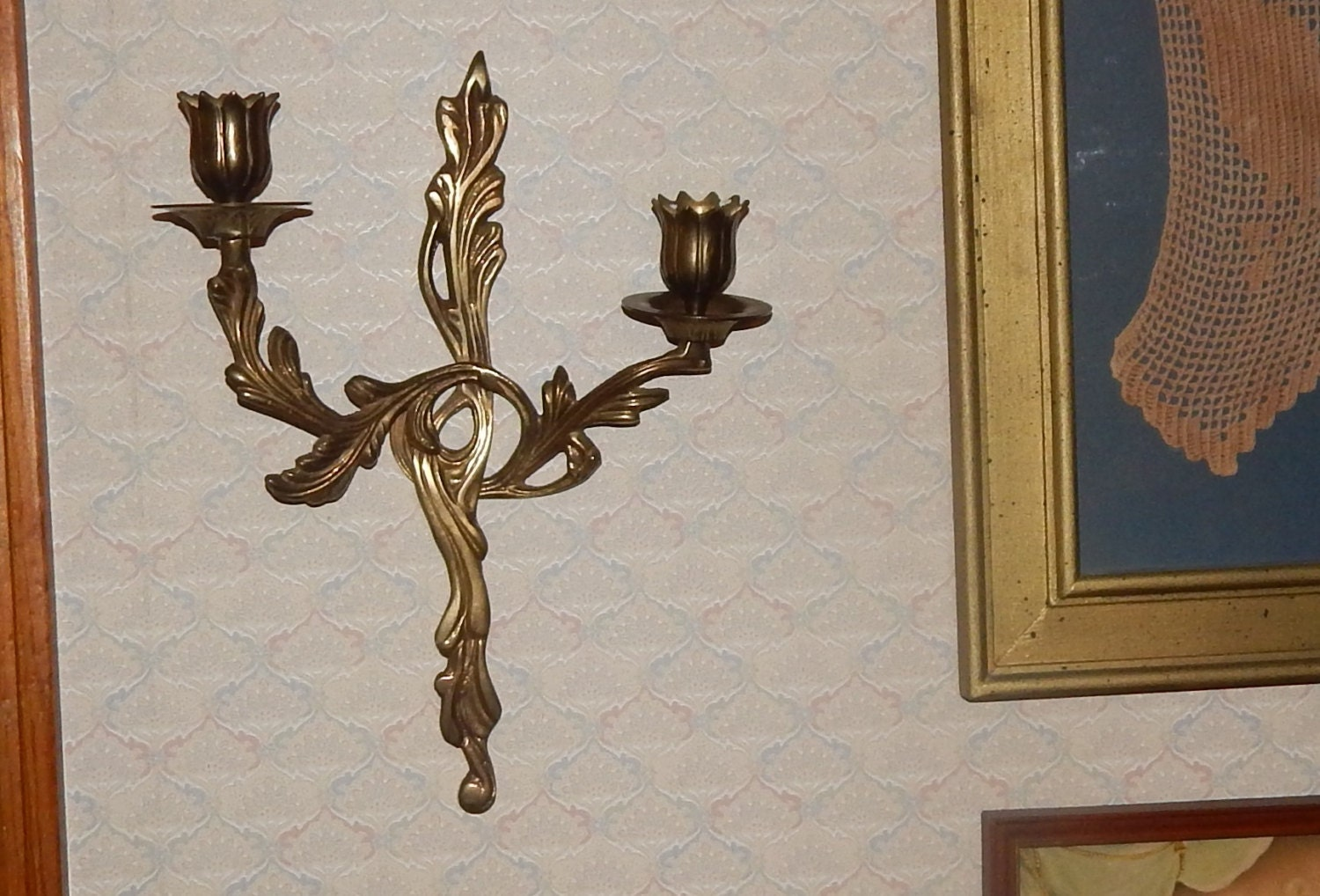 Romantic French Farmhouse Brass Wall Sconce by Alabamafarmgirl