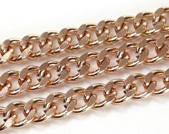 Rose Gold Plated Aluminum Chunky Curb Chain, 14x11mm, Thread Dia. 3.3mm, Pkg of 1m(1.1 yards.), N098.RG04.L1M