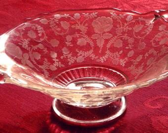 1950's Elegant Glass Roselyn Pattern Bon Bon by Cambridge Glass