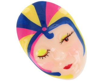 Lucite Painted Striped Harlequin Pin Brooch Vintage 1980s