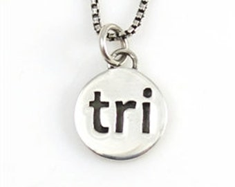 "Triathlon Necklace with ""Tri"" Charm Pendant, Sterling Silver Runners Jewelry with Custom Options, Unique Running Charm on a Necklace Chain"