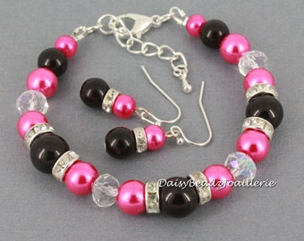 Fuchsia and Black Bracelet, Hot Pink and Black Bracelet, Bridesmaids Gift, Pearl Bracelet, Wedding Bracelet, Bridesmaids Bracelet, Hot Pink
