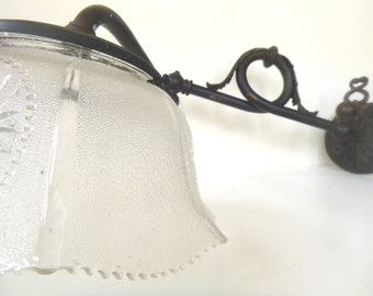 Antique Sconce -- Bronze Gas Lamp -- Glass Shade