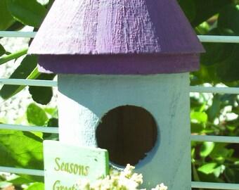 Round Bird House Purple Roof/Grey House (41)