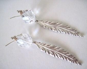 long silver & crystal dangle earrings