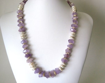 Natural amethyst and coin pearl  necklace