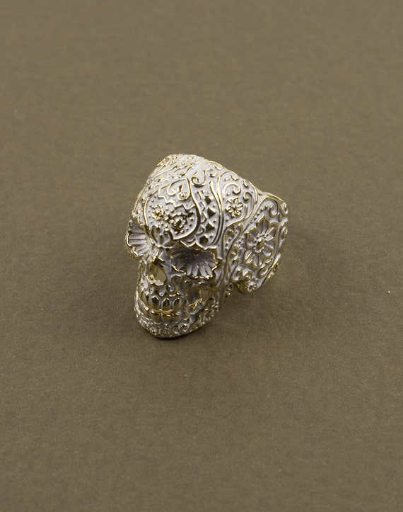 White and Gold Mex Skull Ring