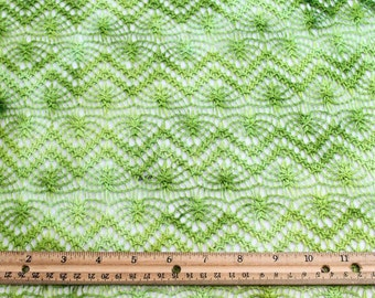 Lime Green Open Crochet Knit Fabric - 1 Yard Style 6470