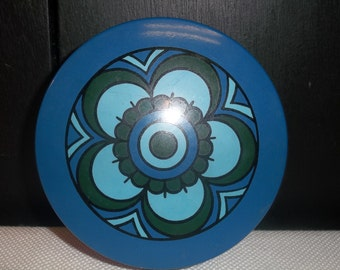 SALE! was 12.00 Vintage Blue and Green Coasters with Container T
