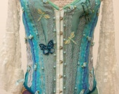 Hannah Blues and Greens Exquisite Gypsy Corset