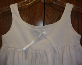 Girls Summer Nightgown / Night Dress (White or Off White Cotton)